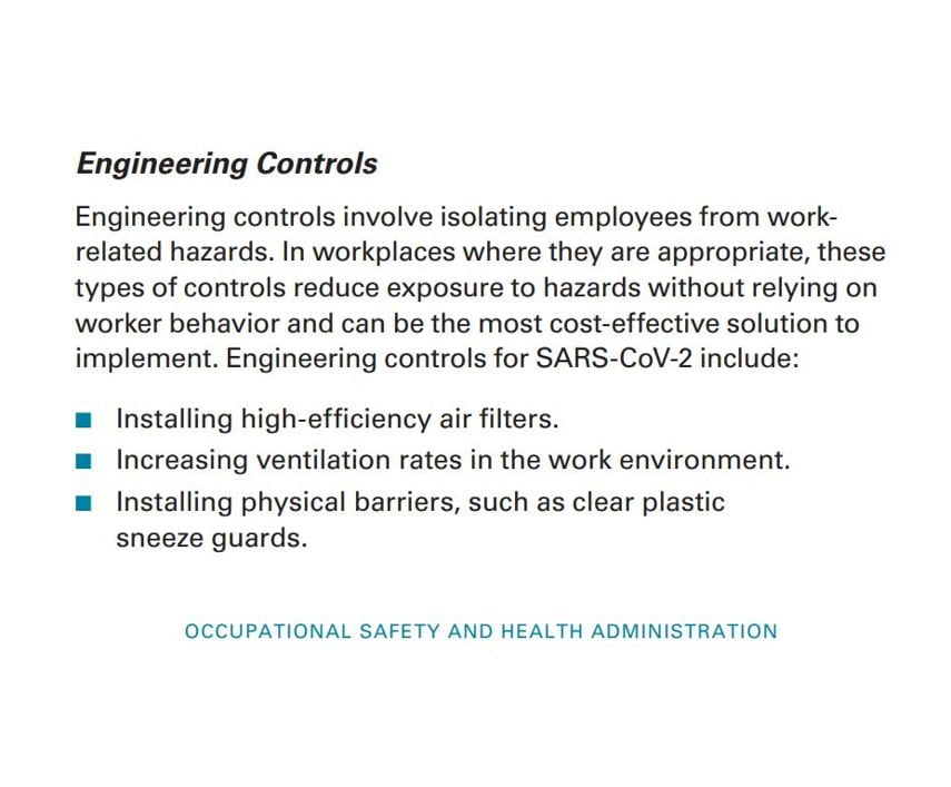 """CDC Advises """"Facilities should consider consulting with a heating, ventilation, and air conditioning engineer to ensure adequate ventilation in work areas to help minimize workers' potential exposures."""""""